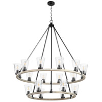 Quorum 63-18-6941 Paxton 18 Light 46 inch Noir and Weathered Oak Chandelier Ceiling Light