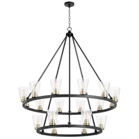 Quorum 63-18-6980 Paxton 18 Light 46 inch Noir with Aged Brass Chandelier Ceiling Light