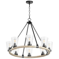 Quorum 63-8-6941 Paxton 8 Light 31 inch Noir with Weathered Oak Chandelier Ceiling Light