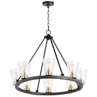 Quorum 63-8-6980 Paxton 8 Light 31 inch Noir with Aged Brass Chandelier Ceiling Light