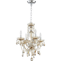 Quorum 630-4-614 Bohemian Katerina 4 Light 16 inch Chrome Chandelier Ceiling Light in Cognac Crystal