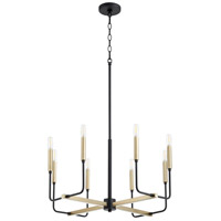 Quorum 631-8-6980 Lacy 8 Light 24 inch Noir and Aged Brass Chandelier Ceiling Light