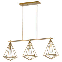 Quorum 6311-3-80 Bennett 3 Light 42 inch Aged Brass Island Light Ceiling Light