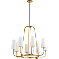 Quorum International Highline 8 Light Chandelier in Aged Brass with Opal Glass 632-8-80