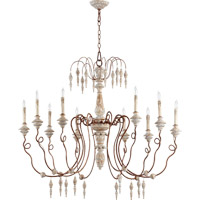 La Maison 10 Light 45 inch Manchester Grey with Rust Accents Chandelier Ceiling Light