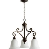 Quorum 6354-3-186 Bryant 3 Light 25 inch Oiled Bronze Nook Chandelier Ceiling Light in Satin Opal