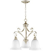 Quorum 6354-3-60 Bryant 25 inch Aged Silver Leaf Nook Ceiling Light in Satin Opal, Satin Opal