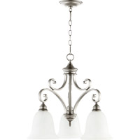 Quorum 6354-3-64 Bryant 3 Light 25 inch Classic Nickel Mini Chandelier Ceiling Light in Faux Alabaster