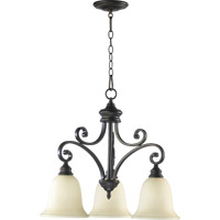 Quorum 6354-3-86 Bryant 3 Light 25 inch Oiled Bronze Mini Chandelier Ceiling Light in Amber Scavo