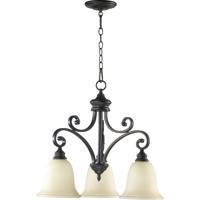 Quorum 6354-3-86 Bryant 3 Light 25 inch Oiled Bronze Dinette Chandelier Ceiling Light in Amber Scavo
