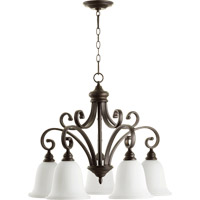 Quorum 6354-5-186 Bryant 5 Light 30 inch Oiled Bronze Nook Chandelier Ceiling Light in Satin Opal