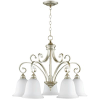Quorum 6354-5-60 Bryant 30 inch Aged Silver Leaf Nook Ceiling Light in Satin Opal Satin Opal