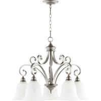 Quorum 6354-5-64 Bryant 5 Light 30 inch Classic Nickel Dinette Chandelier Ceiling Light in Faux Alabaster