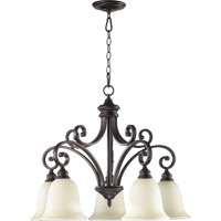 Quorum 6354-5-86 Bryant 5 Light 30 inch Oiled Bronze Dinette Chandelier Ceiling Light in Amber Scavo