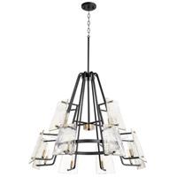 Quorum 637-12-69 Tioga 12 Light 32 inch Noir with Aged Brass Chandelier Ceiling Light