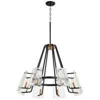 Quorum 637-8-69 Tioga 8 Light 32 inch Noir with Aged Brass Chandelier Ceiling Light