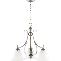 Quorum 6394-3-64 Randolph 3 Light 21 inch Classic Nickel Dinette Chandelier Ceiling Light in Faux Alabaster