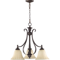 Quorum 6394-3-86 Randolph 3 Light 21 inch Oiled Bronze Dinette Chandelier Ceiling Light in Amber Linen