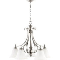 Quorum 6394-5-64 Randolph 5 Light 26 inch Classic Nickel Dinette Chandelier Ceiling Light in Faux Alabaster
