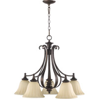 Quorum 6394-5-86 Randolph 5 Light 26 inch Oiled Bronze Dinette Chandelier Ceiling Light in Amber Linen
