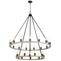 Quorum 64-24-6941 Paxton 24 Light 42 inch Noir with Weathered Oak Chandelier Ceiling Light