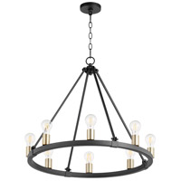 Quorum 64-8-6980 Paxton 8 Light 27 inch Noir with Aged Brass Chandelier Ceiling Light