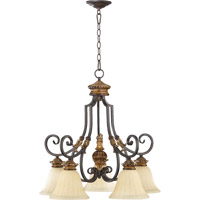 Quorum 6401-5-44 Capella 5 Light 26 inch Toasted Sienna With Golden Fawn Dinette Chandelier Ceiling Light