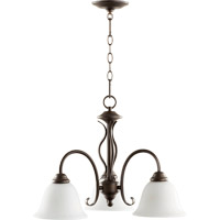 Quorum 6410-3-186 Spencer 3 Light 21 inch Oiled Bronze Nook Chandelier Ceiling Light in Satin Opal