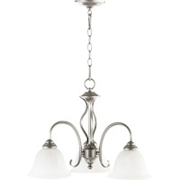 Quorum 6410-3-64 Spencer 3 Light 21 inch Classic Nickel Dinette Chandelier Ceiling Light in Faux Alabaster