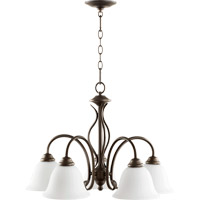 Quorum International Spencer 5 Light Nook Chandelier in Oiled Bronze with Satin Opal Glass 6410-5-186