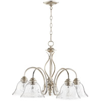 Quorum 6410-5-60 Spencer 24 inch Aged Silver Leaf Nook Ceiling Light in Clear Seeded, Clear Seeded