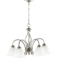 Quorum 6410-5-64 Spencer 5 Light 24 inch Classic Nickel Dinette Chandelier Ceiling Light in Faux Alabaster