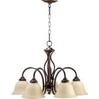 Quorum 6410-5-86 Spencer 5 Light 24 inch Oiled Bronze Dinette Chandelier Ceiling Light in Amber Scavo