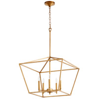 Quorum 644-5-74 Gabriel 5 Light 21 inch Gold Leaf Nook Ceiling Light, Quorum Home