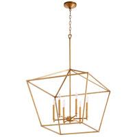 Quorum 644-6-74 Gabriel 6 Light 24 inch Gold Leaf Nook Ceiling Light Quorum Home