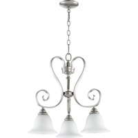 Quorum 6453-3-64 Celesta 3 Light 21 inch Classic Nickel Dinette Chandelier Ceiling Light in Satin Opal
