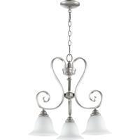Quorum 6453-3-64 Celesta 3 Light 21 inch Classic Nickel Dinette Chandelier Ceiling Light in Satin Opal