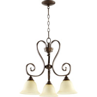 Quorum 6453-3-86 Celesta 3 Light 21 inch Oiled Bronze Dinette Chandelier Ceiling Light in Amber Scavo