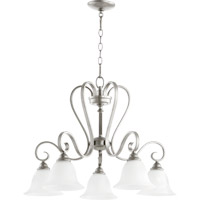 Quorum 6453-5-64 Celesta 5 Light 28 inch Classic Nickel Dinette Chandelier Ceiling Light in Satin Opal