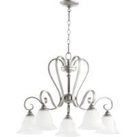 Quorum 6453-5-64 Celesta 5 Light 28 inch Classic Nickel Dinette Chandelier Ceiling Light in Satin Opal
