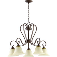 Quorum 6453-5-86 Celesta 5 Light 28 inch Oiled Bronze Dinette Chandelier Ceiling Light in Amber Scavo