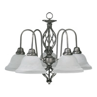 Signature 5 Light 25 inch Antique Silver Chandelier Ceiling Light