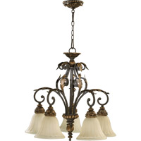 Quorum 6457-5-44 Rio Salado 5 Light 28 inch Toasted Sienna With Mystic Silver Dinette Chandelier Ceiling Light