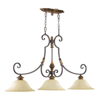 Capella 3 Light 50 inch Toasted Sienna With Golden Fawn Island Light Ceiling Light