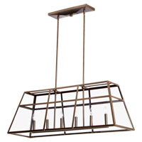Quorum 6504-6-86 Kaufmann 6 Light 43 inch Oiled Bronze Island Light Ceiling Light