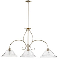 Quorum 6510-3-60 Spencer 45 inch Aged Silver Leaf Island Light Ceiling Light, Clear Seeded