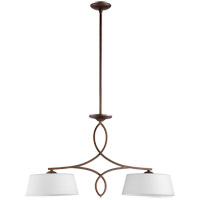 Quorum 6512-2-186 Willingham 34 inch Oiled Bronze Island Light Ceiling Light, Satin Opal