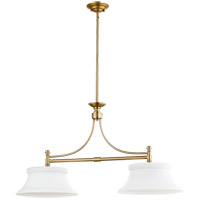Quorum 6522-2-80 Rossington 2 Light 36 inch Aged Brass Island Light Ceiling Light