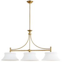 Quorum 6522-3-80 Rossington 3 Light 46 inch Aged Brass Island Light Ceiling Light photo thumbnail