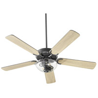Quorum 6525-2259 Virtue 52 inch Matte Black with Matte Black and Weathered Gray Blades Ceiling Fan Quorum Home